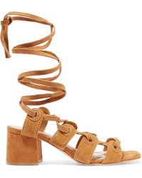Sandro - Andy Lace-up Suede Sandals Light Brown - Lyst