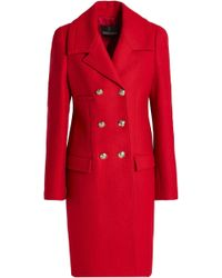 Roberto Cavalli - Woman Double-breasted Wool-blend Coat Claret - Lyst