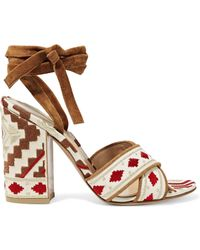 Gianvito Rossi - Cheyenne Suede-trimmed Embroidered Canvas Sandals - Lyst