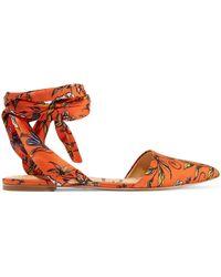 Sam Edelman | Brandie Printed Satin Point-toe Flats | Lyst