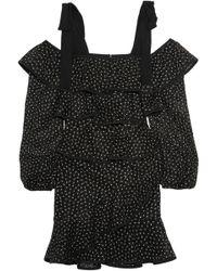 Rebecca Vallance - Farina Tiered Embroidered Lace Mini Dress - Lyst