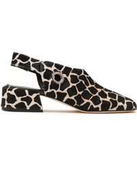 Tibi - Woman Aria Printed Calf Hair Slingback Court Shoes Black - Lyst