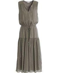 Joie - Lamé-trimmed Silk-blend Georgette Dress - Lyst