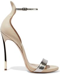 a447f664a3 Casadei - Techno Blade Matte And Metallic Leather Sandals - Lyst