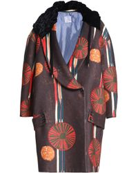 Stella Jean - Woman Double-breasted Printed Felt Coat Brown Size 40 - Lyst