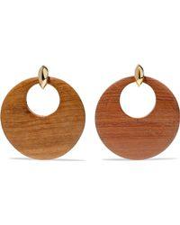 Kenneth Jay Lane - Gold-tone Wood Clip Earrings - Lyst