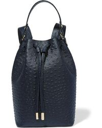 Iris & Ink - - Ostrich-effect Leather Backpack - Navy - Lyst