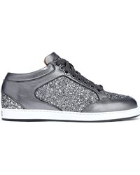 ca504677e4f3 Jimmy Choo - Woman Miami Glittered Metallic Leather Sneakers Gunmetal - Lyst