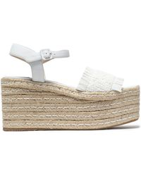 Paloma Barceló - Fringed Woven Leather Platorm Sandals - Lyst