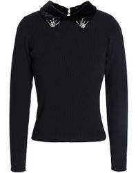 Sandro - Faux Fur-trimmed Embellished Stretch-knit Jumper Black - Lyst
