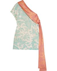 Jonathan Saunders - Dina One-shoulder Embroidered Printed Silk-twill Top - Lyst