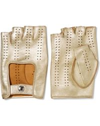 Causse Gantier | Perforated Metallic Leather Fingerless Gloves | Lyst