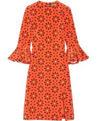 Holly Fulton - Irina Printed Ruffle-trimmed Silk Crepe De Chine Dress - Lyst