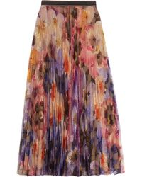 Christopher Kane - Pleated Printed Lace Midi Skirt - Lyst