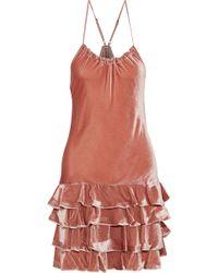 Marissa Webb - Woman Everleigh Tiered Velvet Halterneck Mini Dress Antique Rose - Lyst