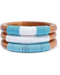 Ben-Amun - Woman Set Of 3 Wood And Cord Bangles Light Brown - Lyst