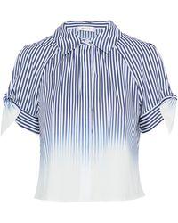 MILLY - Cold-shoulder Striped Dégradé Cotton-blend Poplin Shirt - Lyst
