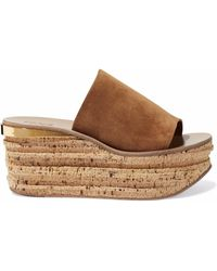 Chloé - Camille Suede And Cork Platform Mules - Lyst