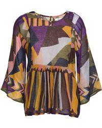 Ba&sh - Printed Cotton-gauze Blouse Multicolour - Lyst