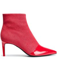 Rag & Bone - Woman Denim And Patent-leather Ankle Boots Red - Lyst