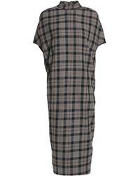 Rick Owens - Checked Wool Midi Dress - Lyst