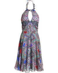 Matthew Williamson - Pleated Printed Silk Halterneck Dress - Lyst
