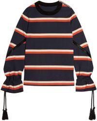 Sacai - Rope-detailed Striped Cotton-jersey Sweatshirt - Lyst