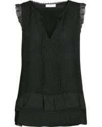 Joie - Cici Lace-trimmed Polka-dot Silk Top - Lyst