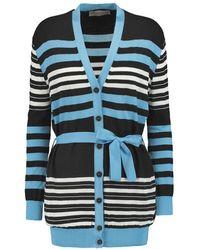 Emilio Pucci - - Striped Wool, Cotton And Silk-blend Cardigan - Black - Lyst