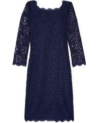 Diane von Furstenberg - Zarita Lace Dress Midnight Blue - Lyst