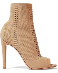 Gianvito Rossi - Vires 105 Open-knit Ankle Boots Sand - Lyst