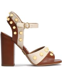 Michael Kors - Studded Two-tone Leather Sandals - Lyst