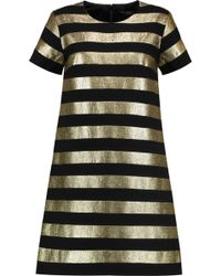 Marc By Marc Jacobs | Striped Lamé And Crepe Mini Dress | Lyst