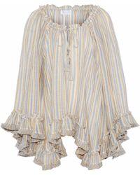 Zimmermann - Ruffle-trimmed Striped Linen And Cotton-blend Gauze Top Multicolour - Lyst