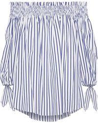 Caroline Constas - Lou Off-the-shoulder Striped Cotton-poplin Blouse Navy - Lyst