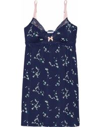 Eberjey - Lace-trimmed Printed Modal-blend Chemise - Lyst