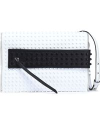 Elena Ghisellini - Woman Studded Two-tone Leather Shoulder Bag White Size -- - Lyst
