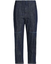 Brunello Cucinelli - Cropped Faded High-rise Tapered Jeans - Lyst