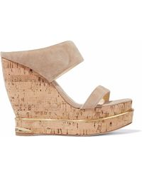 Paloma Barceló - Suede And Cork Wedge Mules - Lyst