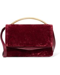 Eddie Borgo - Boyd Vanity Leather-trimmed Velvet Shoulder Bag - Lyst