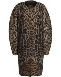 Roberto Cavalli - Leopard-print Wool-blend Coat - Lyst