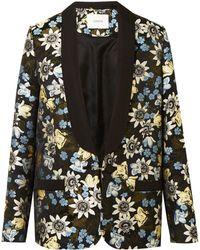 Erdem Anisha Floral-jacquard Tuxedo Jacket Black