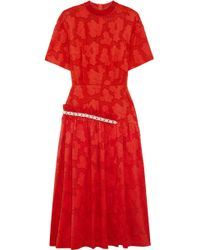 Mother Of Pearl - Faux Pearl-embellished Printed Cotton Midi Dress - Lyst