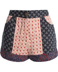 Antik Batik - Woman Patye Patchwork Cotton Shorts Midnight Blue - Lyst