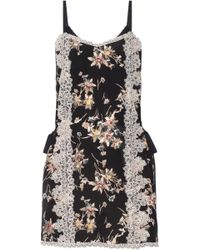 Anna Sui - Lace-paneled Printed Silk Crepe De Chine Mini Dress - Lyst