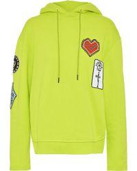 Opening Ceremony - Appliquéd Neon Cotton-fleece Hooded Sweatshirt - Lyst
