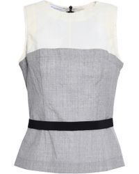 Narciso Rodriguez - Woman Paneled Wool Top Gray - Lyst
