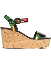 Dolce & Gabbana - Printed Patent-leather Wedge Platform Sandals - Lyst