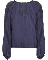 Vanessa Bruno Embroidered Cotton-blend Blouse Navy - Blue