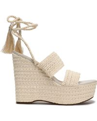 Schutz - Lace-up Shirred Crochet Platform Wedge Sandals - Lyst